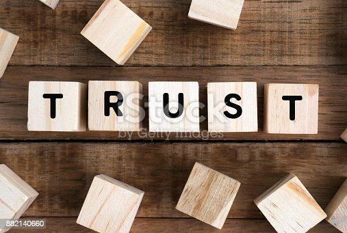 939533958 istock photo Word trust on a wooden block 882140660