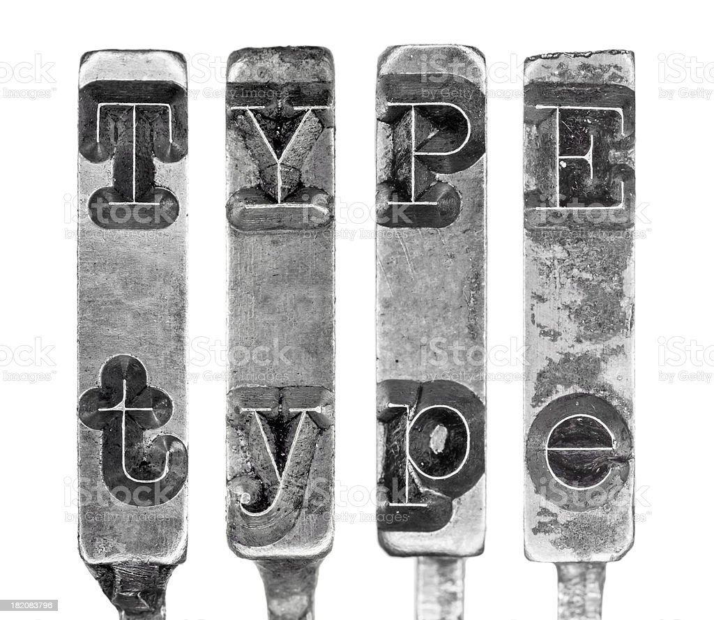 Word TYPE in Old Typewriter Typebar Letters Isolated on White royalty-free stock photo