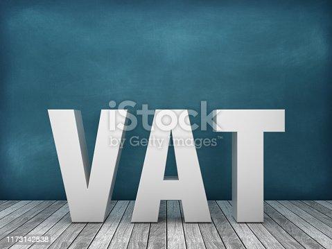 3D Word VAT on Chalkboard Background - 3D Rendering