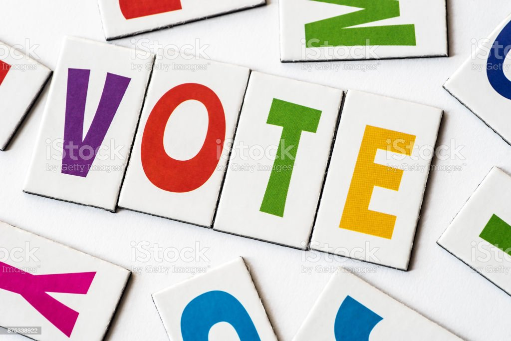 word vote made of colorful letters stock photo