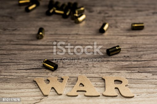 695022520 istock photo Word war concept with wooden letters 810117676