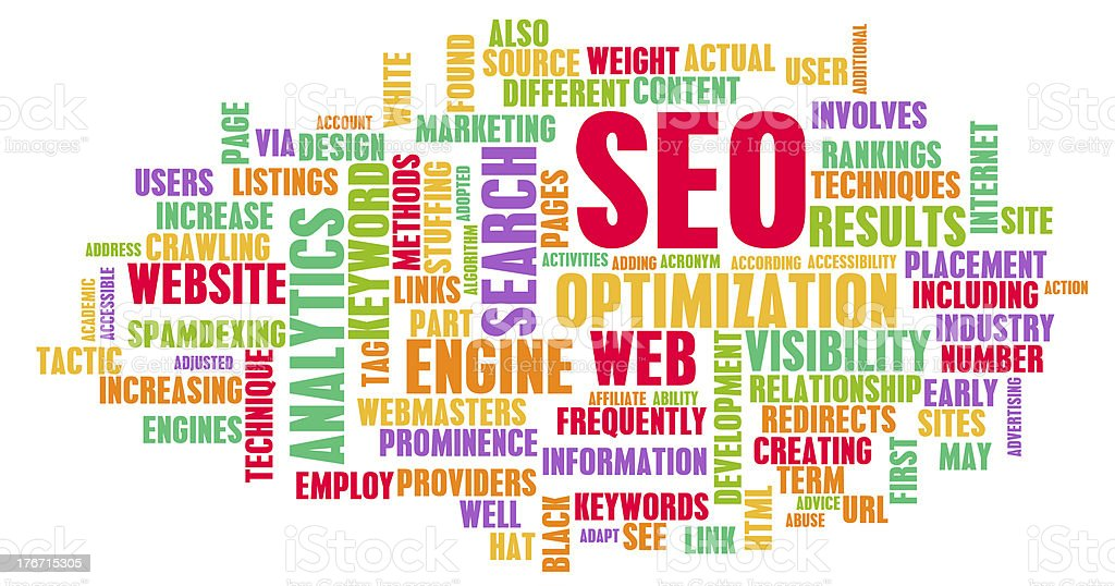 A word web surrounding the topic of SEO stock photo