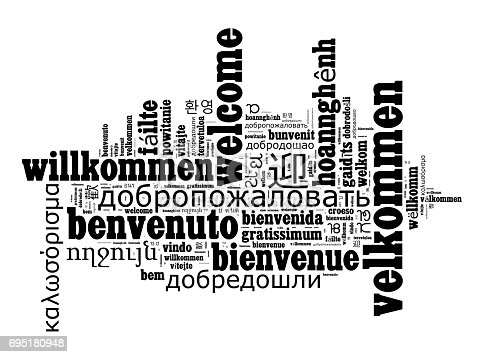 Word Welcome in different languages word cloud concept