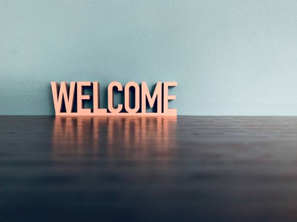 Word welcome on blue background Word welcome on blue background welcome sign stock pictures, royalty-free photos & images