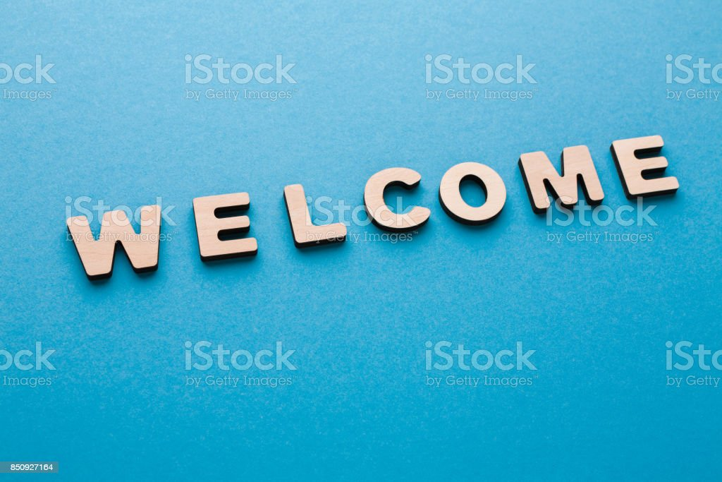 Word welcome on blue background stock photo more pictures of alphabet alphabetical order crossword puzzle latin script leisure games m4hsunfo