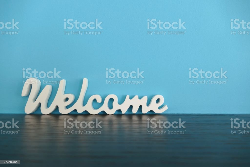 Word welcome on blue background - foto stock