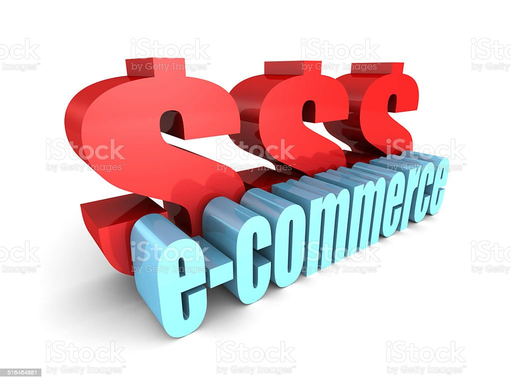 E-COMMERCE word with big dollar currency symbols stock photo