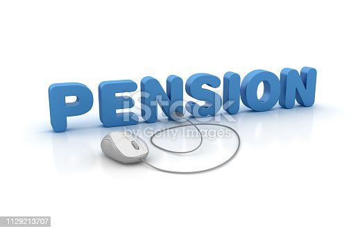 PENSION 3D Word with Computer Mouse - White Background - 3D Rendering