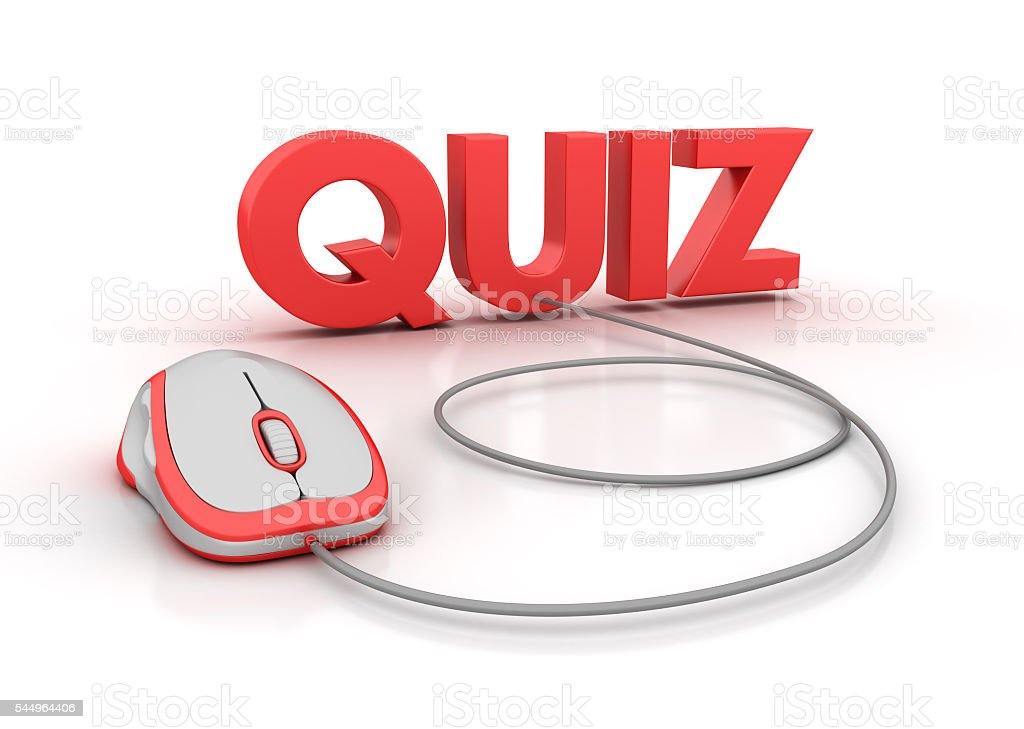 Quiz Word With Computer Mouse Stock Photo - Download Image Now - iStock