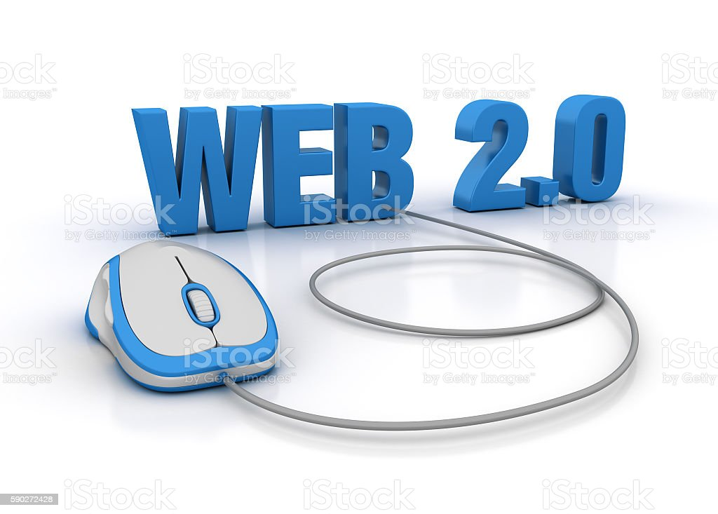 WEB 2.0 Word with Computer Mouse stock photo