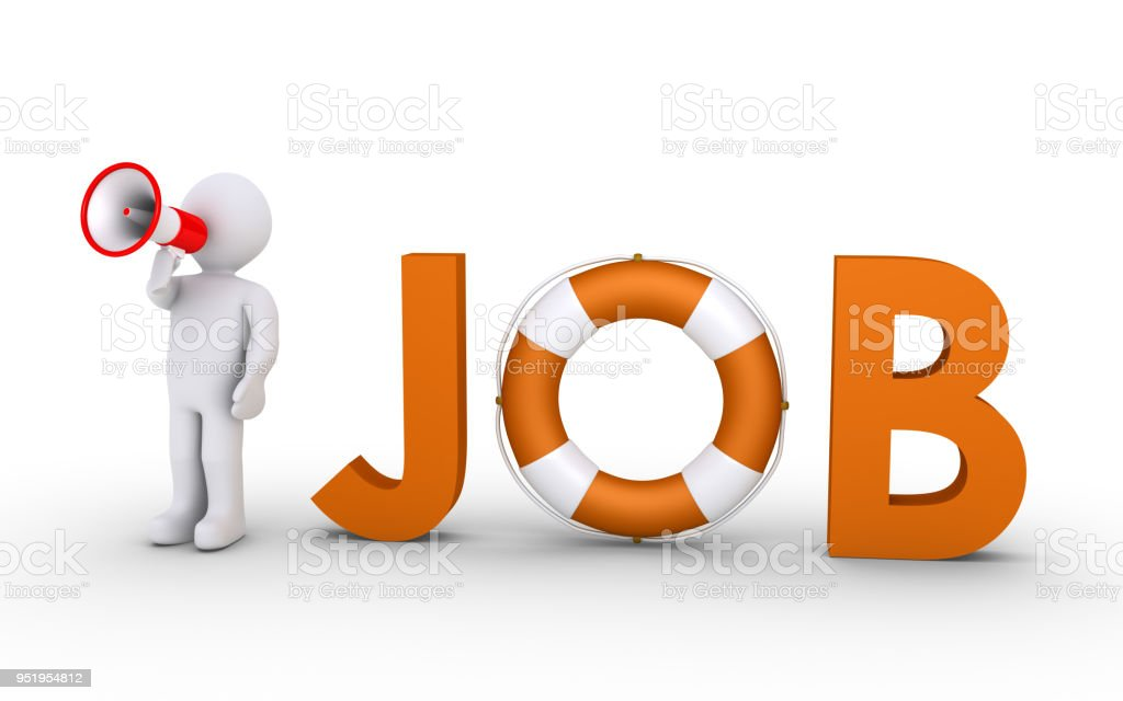 JOB word with lifebelt and person with megaphone stock photo