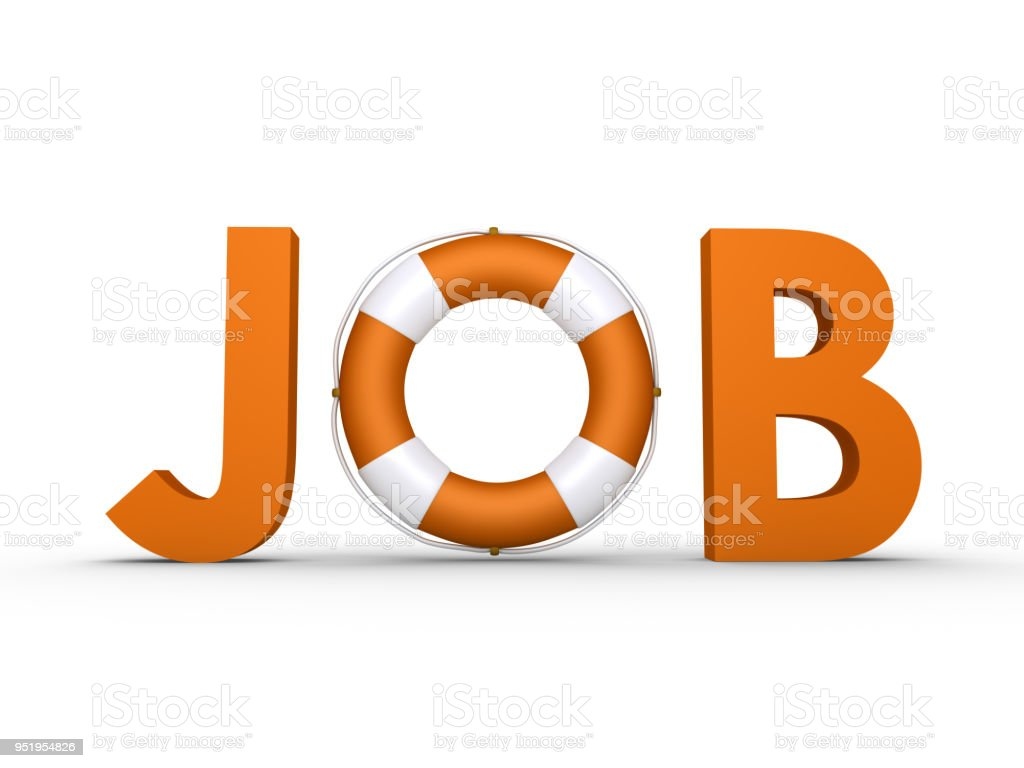 JOB word with lifebelt included stock photo