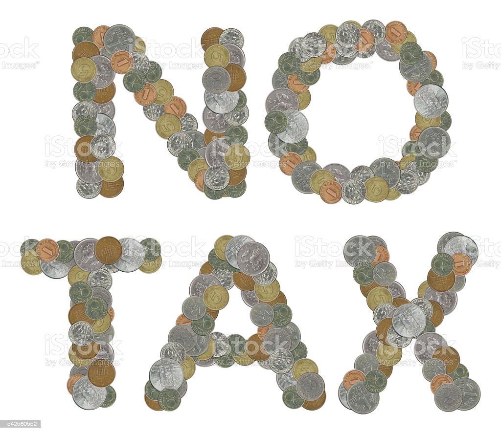 NO TAX word with Old Coins stock photo