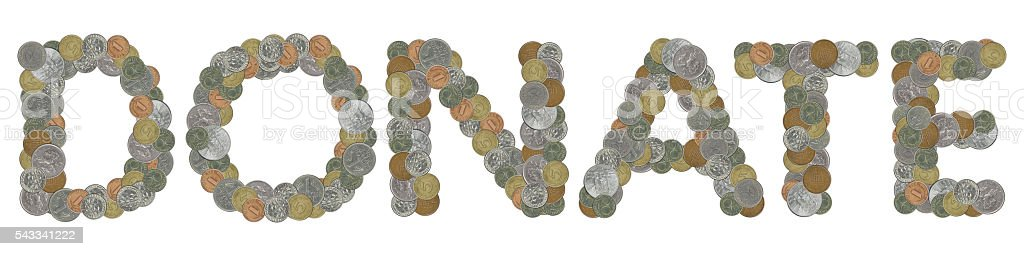 DONATE word with Old Coins stock photo
