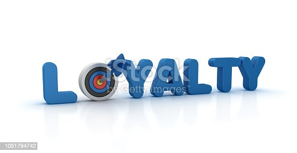 469652019 istock photo LOYALTY 3D Word with Target and Dart - 3D Rendering 1051794742