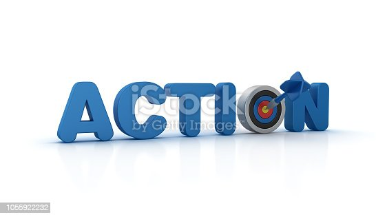 ACTION 3D Word with Target and Dart - White Background - 3D Rendering