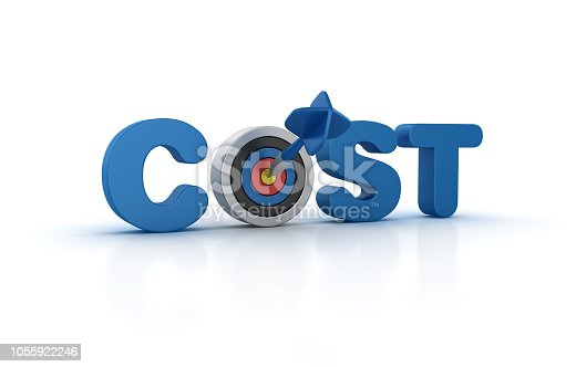COST 3D Word with Target and Dart  - White Background - 3D Rendering