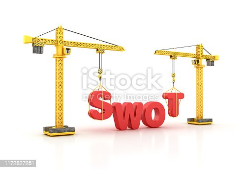 SWOT Word with Tower Crane - White Background - 3D Rendering