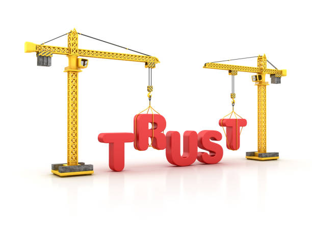TRUST Word with Tower Crane - 3D Rendering stock photo