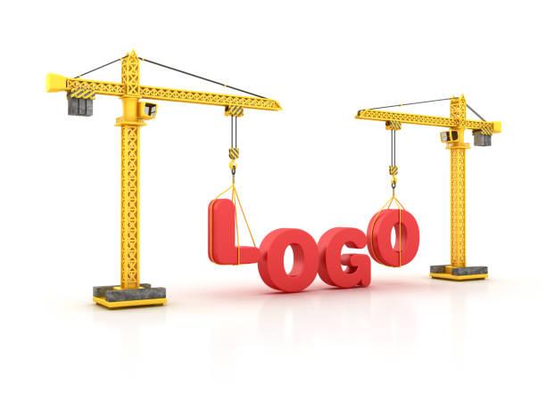 logo-wort mit turmdrehkran - 3d rendering - logodesign stock-fotos und bilder