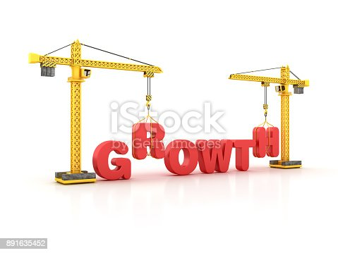 GROWTH Word with Tower Crane - White Background - 3D Rendering