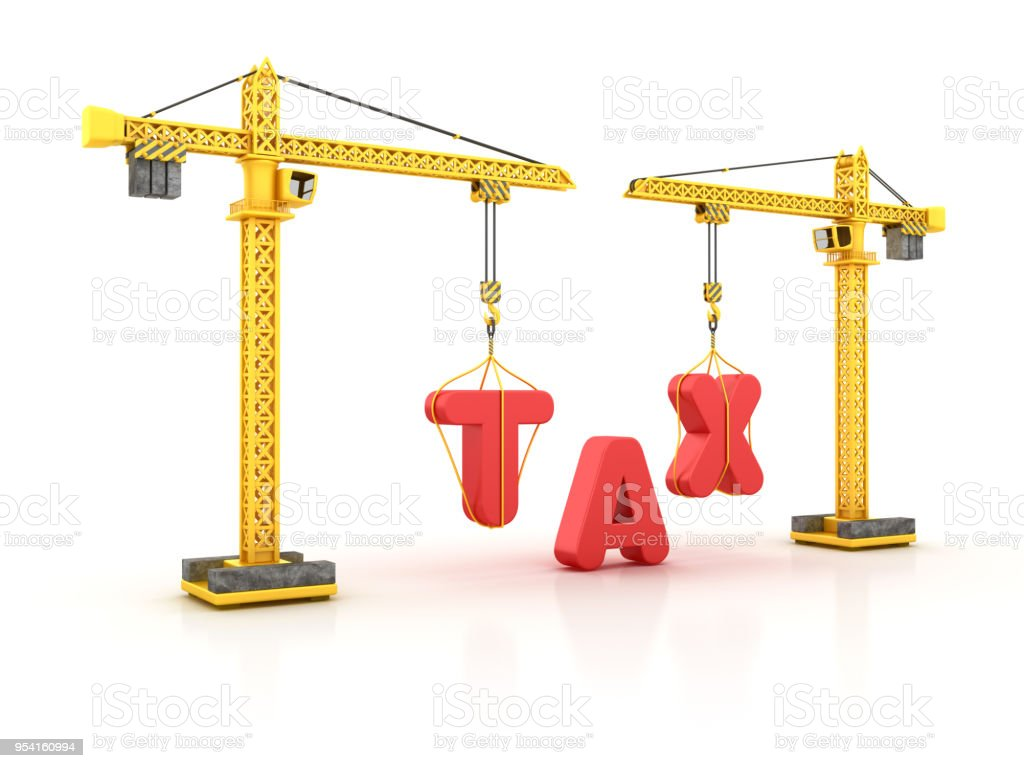 TAX Word with Tower Crane - 3D Rendering stock photo