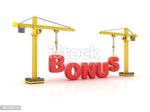 BONUS Word with Tower Crane - White Background - 3D Rendering