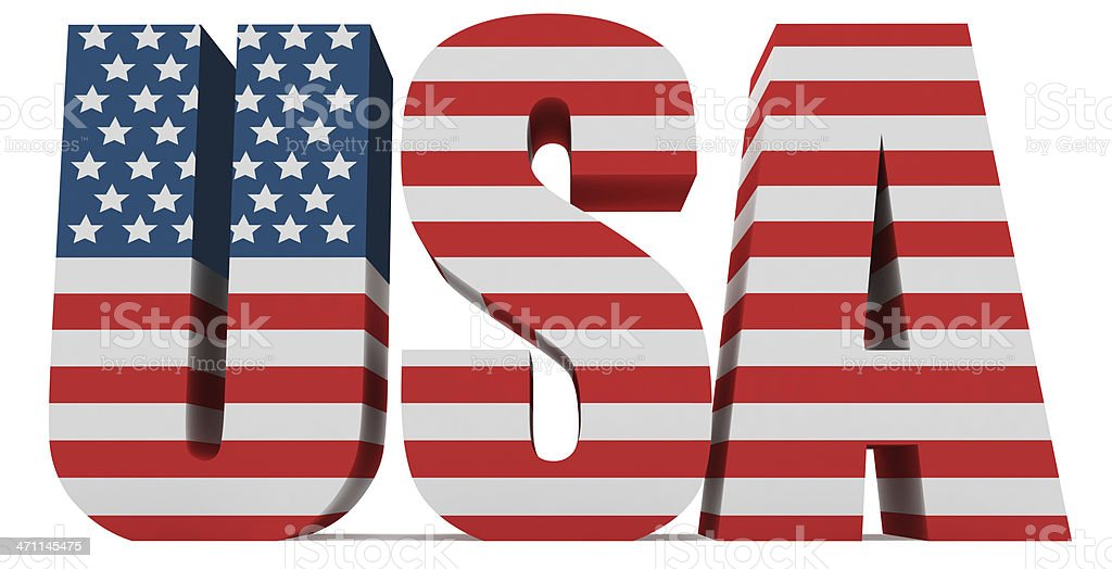 3D USA Word with US Flag royalty-free stock photo