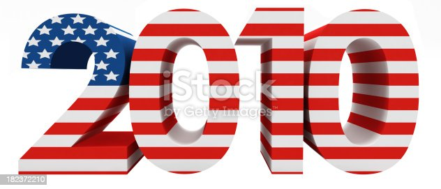 Full 3D render of 2010 letters isolated with USA Flag on white