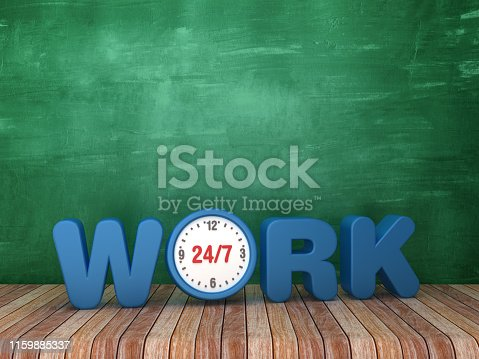 3D Word WORK with Clock on Chalkboard Background - 3D Rendering