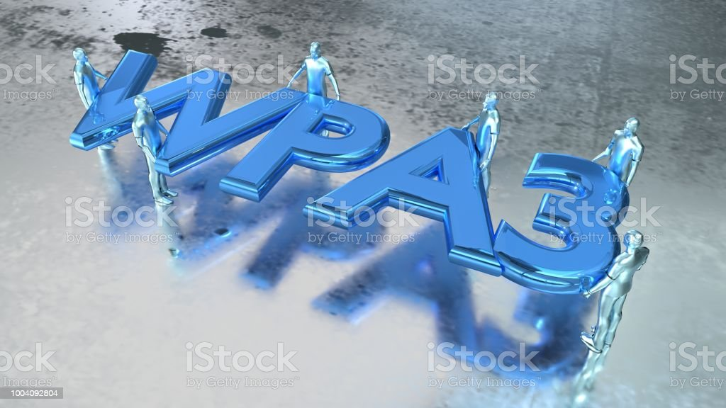 Word WPS3 in metal blue carried by several people on shiny wet metal...