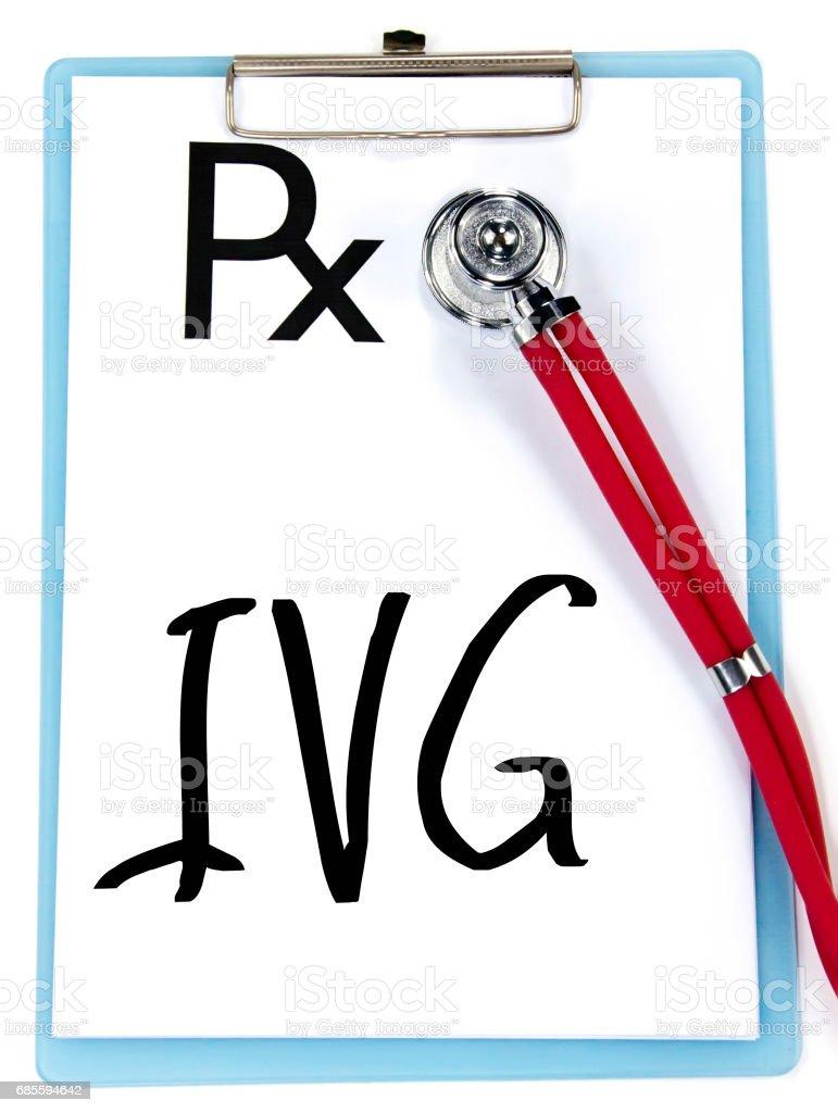 처방전에 IVG 단어 쓰기 royalty-free 스톡 사진