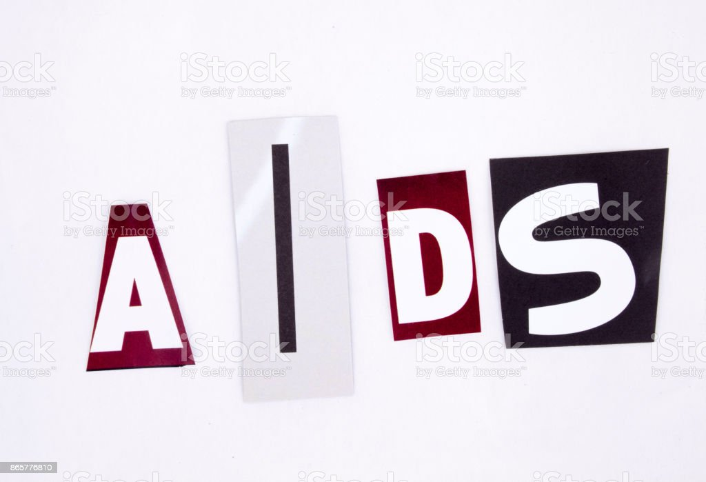 A word writing AIDS made of different magazine newspaper letter magazine different letters for health concept stock photo