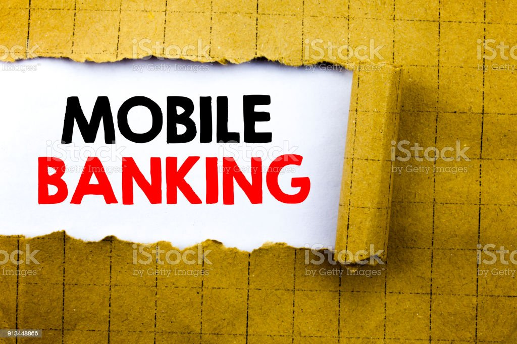 Word, writing Mobile Banking. Business concept for Internet Banking...