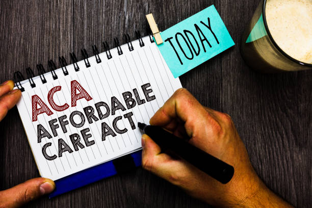 Word writing text Aca Affordable Care Act. Business concept for providing cheap treatment to patient several places Man holding marker notebook clothespin hold reminder coffee cup wood table. stock photo