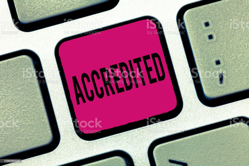 Word writing text Accredited. Business concept for Having credits authority to something Certified Authorized stock photo