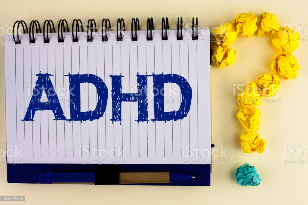 Word writing text Adhd. Business concept for Learning made easier for children teaching no more a difficult task written on Notebook Book on the plain background Pen next to it Ask for. stock photo