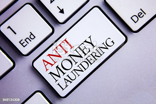 istock Word writing text Anti Monay Laundring. Business concept for entering projects to get away dirty money and clean it written on White Keyboard Key with copy space. Top view. 949134308