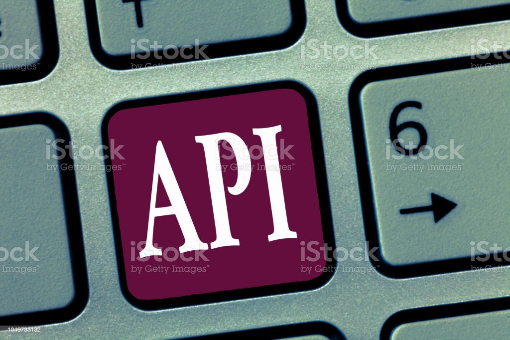Word writing text Api. Business concept for Tools for building software Computer programming routines protocols stock photo