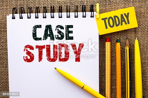 Word writing text Case Study. Business concept for Research Information Analysis Observe Learn Discuss Criteria