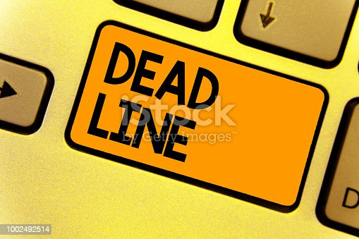 Word writing text Dead Line. Business concept for Period of time by which something must be finished or accomplished Keyboard yellow key Intention create computer computing reflection document