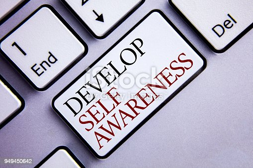 istock Word writing text Develop Self Awareness. Business concept for improve your Informations about surrounding events written on the white Keyboard Key with copy space. Top view. 949450642