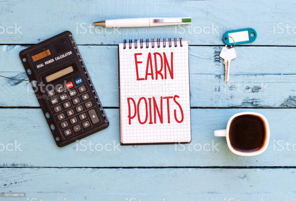 Word, writing, text Earn Points on notebook stock photo