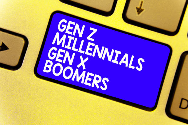 word writing text gen z millennials gen x boomers. business concept for generational differences old young people keyboard blue key intention create computer computing reflection document. - baby boomers stock pictures, royalty-free photos & images