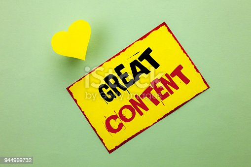 istock Word writing text Great Content. Business concept for Excellent Information Valuable Interesting Good Convenient written on Yellow Sticky Note Paper on the Plain background Heart next to it. 944969732