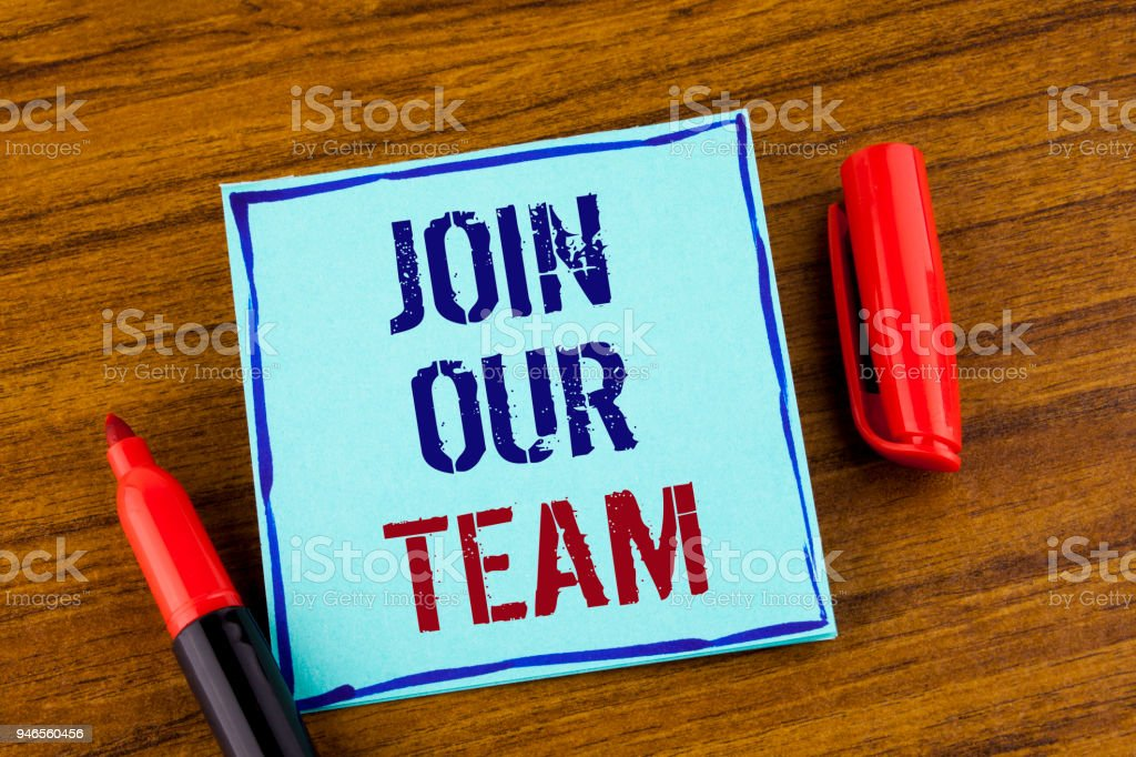 Word writing text Join Our Team. Business concept for Get over unemployment joining better career workforce written on Sticky note paper on the Wooden background Marker next to it. stock photo