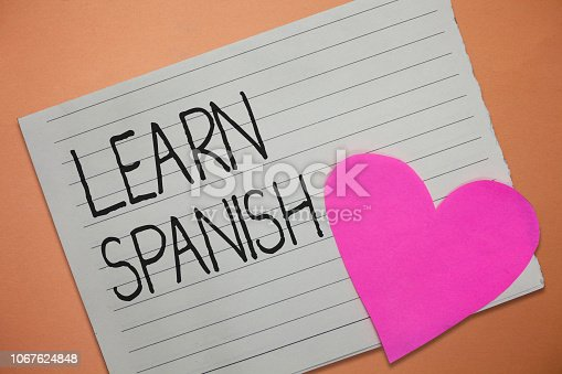 Word writing text Learn Spanish. Business concept for Translation Language in Spain Vocabulary Dialect Speech.