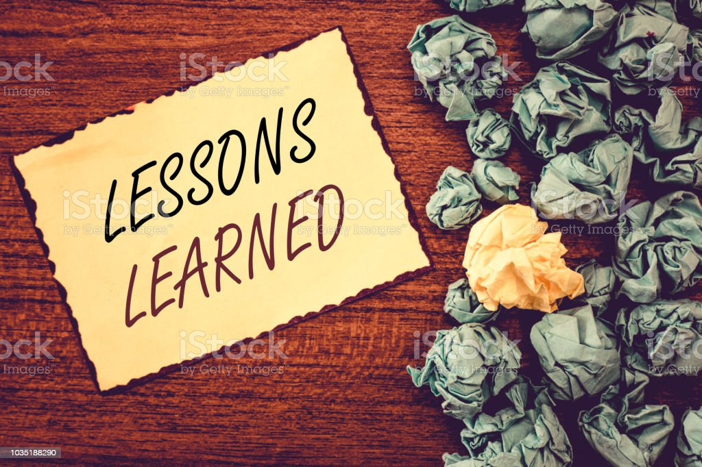 Word writing text Lessons Learned. Business concept for Promote share and use knowledge derived from experience stock photo