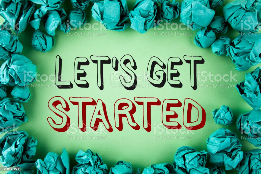 Word writing text Lets Get Started. Business concept for beginning time motivational quote Inspiration encourage written on plain background within Paper Balls. stock photo
