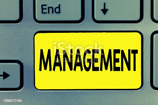 istock Word writing text Management. Business concept for Process dealing with Controlling things showing Company strategy 1056072164